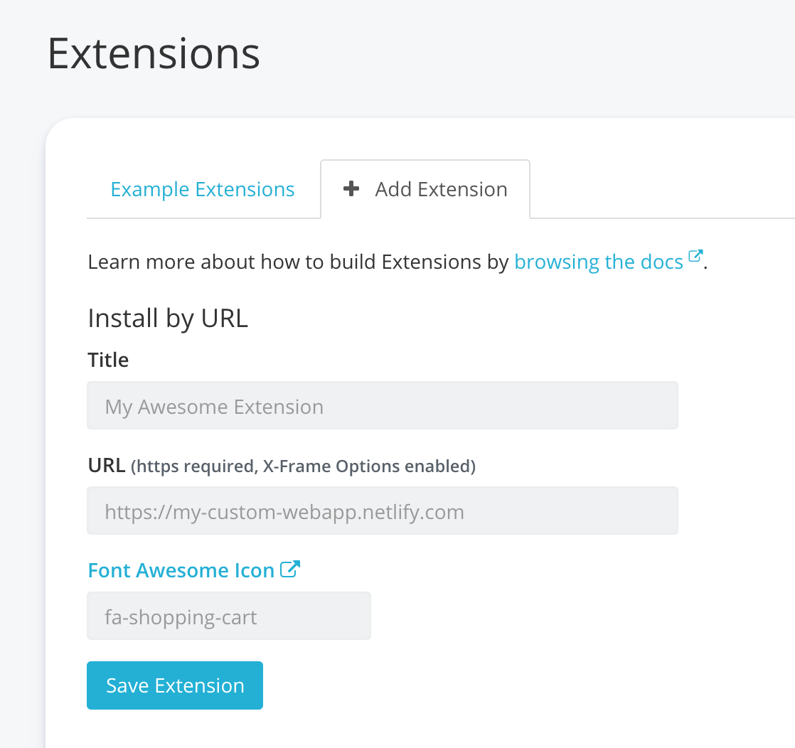 Screenshot of adding extension by URL